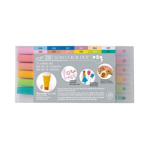 Kuretake ZIG CLEAN COLOR DOT 12 COLOR SET TC-610012V.jpg